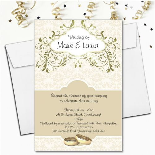 10 Personalised Gold Wedding Invitations N56